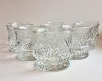Rainflower Clear Tumblers, Vintage Set (8) Anchor Hocking Rainflower Drinking Glasses, 1960s Funky Rain Flower Old Fashioned Rocks Glasses