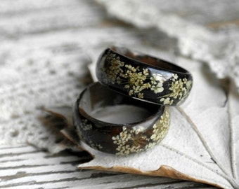 resin ring Real dark flower ring nature inspired engagement rings  Nature rings resin Queen Anne's Lace eco Flowers ring men women jewelry