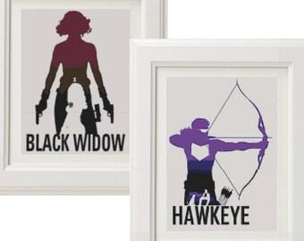 set of two avengers cross stitch pattern, Black Widow Cross Stitch Pattern, Hawkeye cross stitch pattern instant download pdf pattern