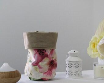 Floral, Storage Basket Bin, Make up Bag, Nursery Decor, Shabby Girls Nursery, Storage Basket, Home Decor, Bathroom Organizer, Gift for Her