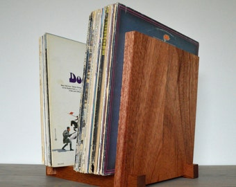 """Vinyl Record Storage Display - Solid Mahogany - Holds 30, 40, 50 or 60 x 12"""" Albums"""