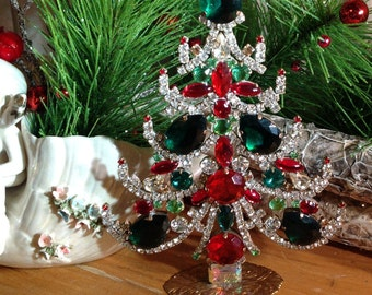 Vintage Czech Rhinestone Christmas Tree, Crystal Christmas Tree, Tabletop Tree  Stand Up Tree, Christmas Decoration,  Gift for Her