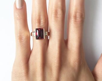 Garnet Ring, 14K Gold Anniversary Ring, Emerald Cut, Garnet Jewelry, Statement Ring