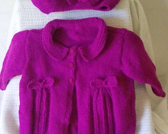 Hand Knitted baby girl's set