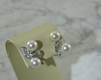 Cartier Diamond & Pearl Earrings