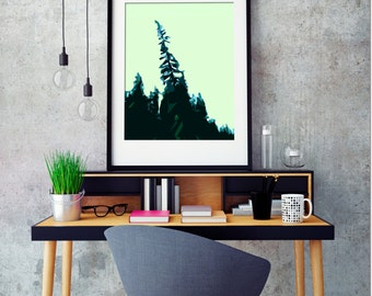 "Modern Wall Art, Mid Century Modern Art Print, Abstract Landscape Print, Tree Art, Forest Art, Vintage Art Print, Evergreen,""Above The Rest"""