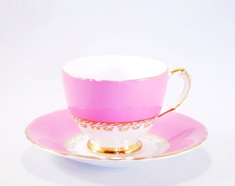 Vintage pink and gold Delphine Cup and Saucer