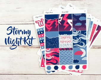 Stormy Night Weekly Kit - Planner Stickers
