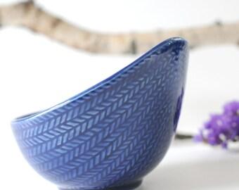 Hertha Bengtson for Rorstrand. Sugar bowl. Blue Fire or Blå Eld. Made in Sweden. Rorstrand pottery Scandinavian Modern