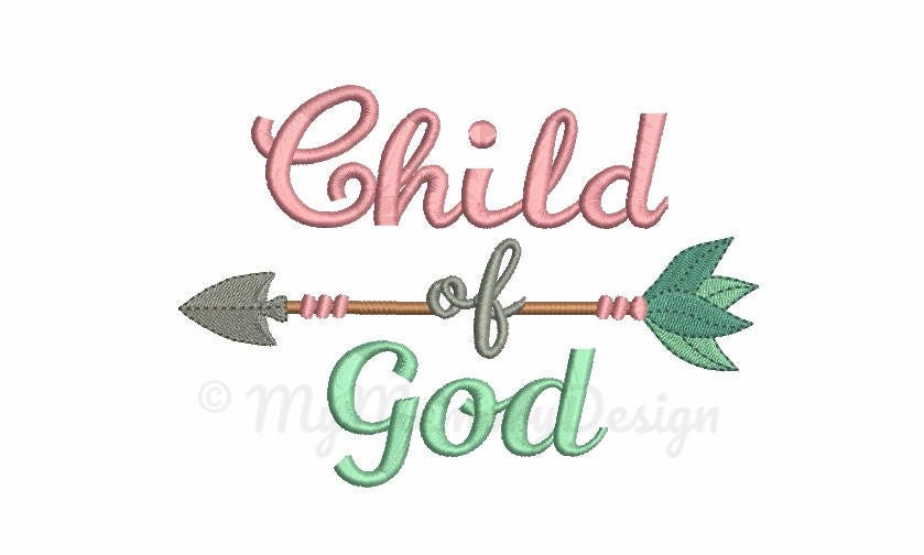 Child of god embroidery design sayings