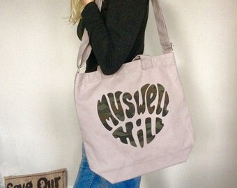Muswell Hill Canvas Shopping Bag Appliqué handout wording Denim Strong Market Shopping Bag with pockets