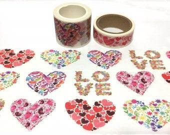 Love pattern true love washi tape 3cm x 5m heart sticker tape heart art flower art love wording love Letter masking tape EXTRA WIDE tape