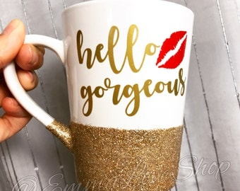 Hello Gorgeous design with Kiss Large Latte Coffee Mug with Glitter