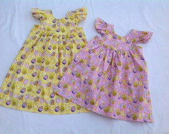 Easter, Girls dress, baby dress, toddler dress, Easter eggs, Easter bunny,Girls Easter Dress, yellow dress, pink dress, Flutter sleeve dress
