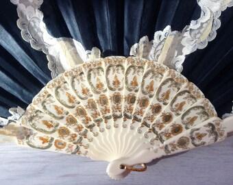 Black-white ivory Spanish fan, vintage lace fan