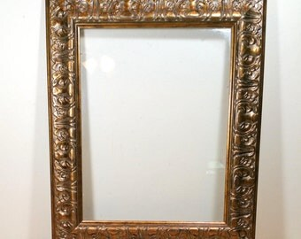 WIDE PICTURE FRAME 11x14 Ornate Vintage Frame Gold Accent Wall Decor Hanging Frame Gallery Wall or Office