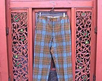 """30"""" Waist Vintage 70s Celtic Tartan Pants"""