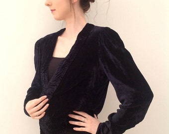 1930s jacket blue velvet ruched detail Art Deco vintage
