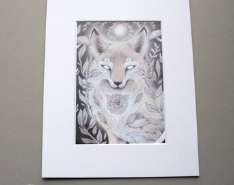 Lunar Fox // Mystical Animal Portrait // Matted Print