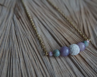 Essential Oil Diffusing Necklace with Jade, Jasper, and Lava Stone