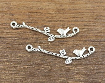 20pcs Bird On Branch Connector Charms Antique Silver Tone 39x9mm - SH474
