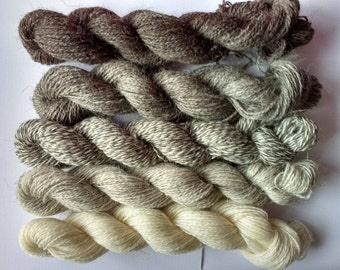 Natural shades of grey, 100% wool sock yarn, 5 x 25g skiens