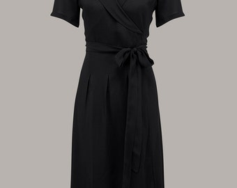 1940's Inspired 'Peggy' Wrap Dress in Solid Black Print by The Seamstress of Bloomsbury