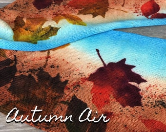 Autumn Air - Hand Dyed Stenciled Single Strand Sock Blank, Superwash Merino Nylon Blend, Speckled Sock Yarn, Falling Leaves