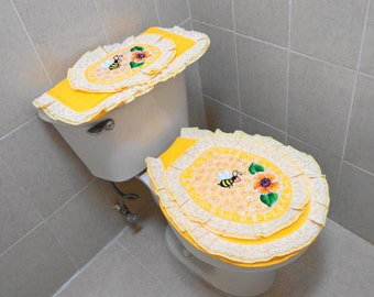 Bathroom set, Toilet cover set, Toilet tank cover, Mothers days gifts, Toilet seat covers, Yellow bathroom set , Yelow , Bath set, Flowers.