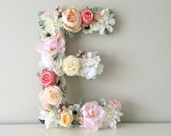 "SALE! Floral Letter 19"" 24"", Large Flower Letter, Floral Number, Custom Floral Letter Nursery, Shabby Chic Decor, Floral Monogram, Birthday"