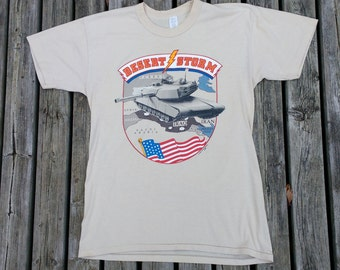 1991 Vintage 90's Operation Desert Storm Cream Coloured Paper Thin Iraq Iran Kuwait War Made in USA XL