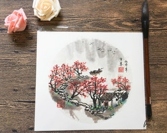 Original Chinese Ink and Wash Paintings - Zen Autumn Fall Water Town Landscape, 24x27cm, Chinese Painting, Wall Art, Home Decor, Great Gift!