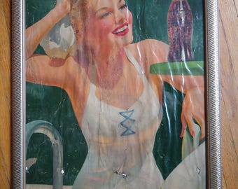 1942 Vintage Coca Cola Lithograph - Salvaged advertising - Coca Cola Girl - Vintage advertising - Coca Cola advertising - Vintage Coca Cola