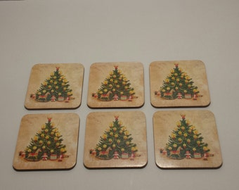 CLEARANCE 6 Vintage Christmas Tree DRINK COASTERS, Christmas Decor, Square Cork Drink Coasters, Holiday Drink Coasters