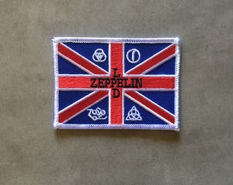 """Led Zeppelin -- British flag logo -- iron-on embroidered patch (arpox. 3.5"""" x 2.5"""")"""
