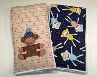 Boy Burp cloths, Sock Monkey burp cloths, Item #127