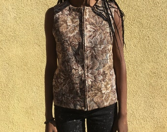 Vintage Floral Tapestry Zip Up Vest Top