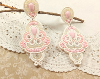 Wedding earrings gift for bride jewelry wedding Unique gift Ivory jewelry Delicate jewelry Elegant jewelry Statement earrings Soutache