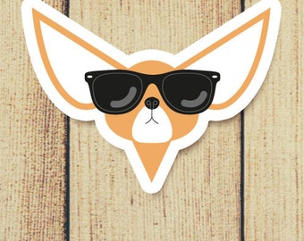Chihuahua Dog in Sunglasses Vinyl Decal