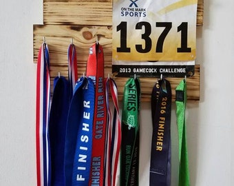 Rustic Running Medal and Bib Holder Display