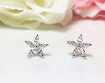 Crystal Flower Earrings, CZ Crystal Stud Earrings, Sparkle Floral Jewelry, Dainty Star Studs, Bridesmaid Jewelry, 18K White Gold Earrings