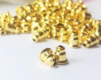 Gold Earrings Back, Gold Ear Nut, Gold Earrings Stopper,Bullet Back Stopper,Earnut Clutch,Gold Plated Earnut 5.5mm x 5mm-20 Pairs- 40 Pieces