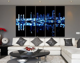 Large Wall Night  Cityscape Canvas Color Multipanel Canvas Cityscape  Art Large  1-3-4-5 Panel Cityscape Print