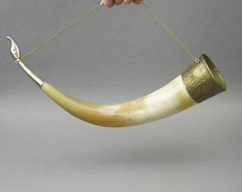Soviet drinking horn, old horn, horn for wine, drinking horn USSR, vintage horn, cornucopia, wall hanging horn, decor, USSR