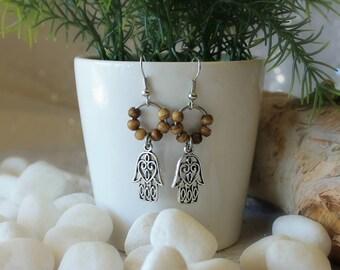 Bohemian Earrings - Beaded Earrings - Boho Earrings - Gypsy Earrings - Bohemian Jewelry - Hamsa Earrings - Dangle Earrings - Wooden Beads
