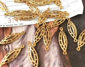 Vintage Gold Plated Oval Cut Out Geometric Connector Findings