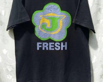 Vintage FreshJive// Black Tshirt//Big Spellout//Single Stitch// Size M
