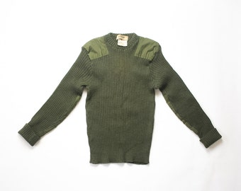 Military Sweater Army Green 80s Chunky Knit Mens Jumper Shirt Ribbed Wool Elbow Patches 1980s Olive Pullover Extra Small