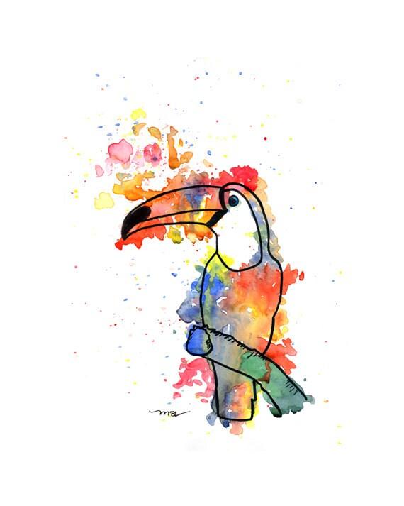 Toucan Watercolor Print - Toucan Art - Yellow Blue Red Green Toucan Modern Abstract Print Decor - Bird Art