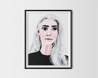 Portrait fashion illustration print 8x10